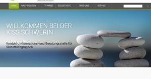Screenshot der Webseite der KISS Schwerin, zwei Steintürme die durch einen Stein miteinander verbunden sind; Willkommen bei der KISS Schwerin Kontakt-, Informations- und Beratungsstelle für Selbsthilfegruppen