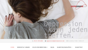 Depression kann jeden Treffen. Screenshot der Internetseite des Paderborner Bündnis gegen Depressionen. Frau liegt auf einem Bett, den Kopf zur Matratze gewandt